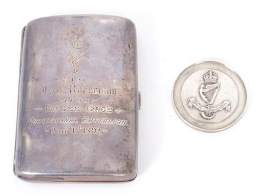 1881-1901 Royal Irish Rifles cigarette case and Royal Ulster Rifles silver medal. (2)