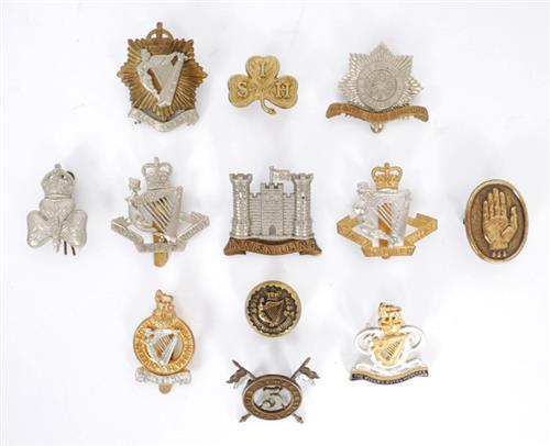 A Collection of Irish regimental badges. (10)