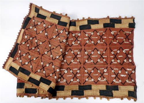 Early 20th century, Ugandan, textile wall hanging applied with shells.