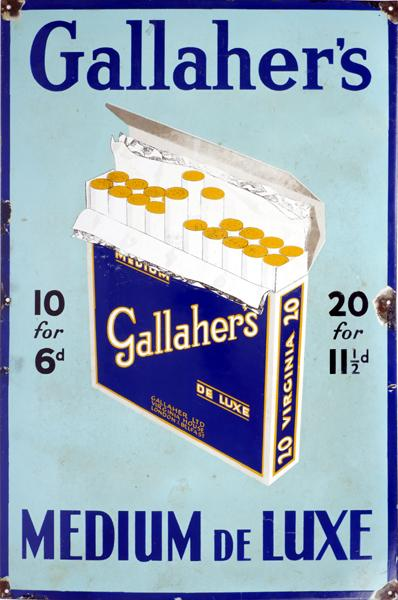 Gallagher''s Medium de Luxe cigarettes sign.