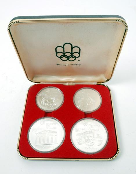 Canada. 1974-1976 Olympic Games silver coins in presentation boxes.