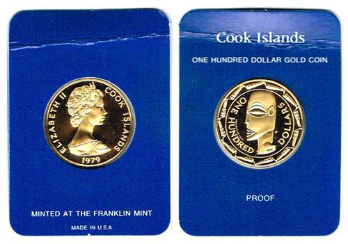 Cook Islands 1979 one hundred dollars gold proof.