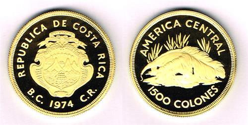 Costa Rica. 1974 Conservation gold and silver proofs.