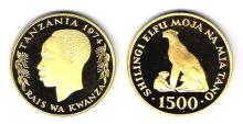 Tanzania. 1974 Conservation proof set of gold and silver coins.