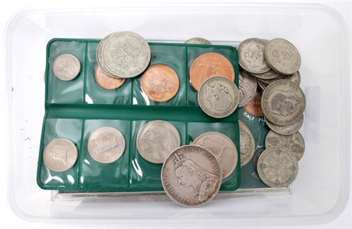 A collection of silver coins including crowns and half crowns and Irish pre-decimal, presentation sets