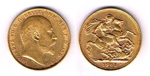 Edward VII gold sovereigns 1903, 1904, 1905, 1907.