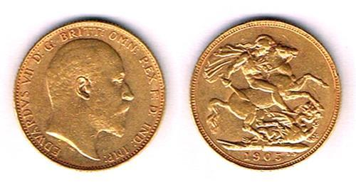 Edward VII gold sovereign, 1905.