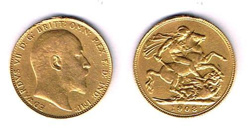 Edward VII gold sovereign, 1908, and Victoria silver crown, enamelled.