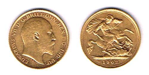 Edward VII gold half sovereigns 1902, 1903, 1904 and 1906.