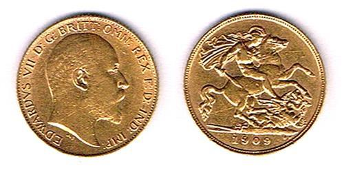 Edward VII gold half sovereigns, 1905, 1907, 1908, 1909 and 1910.