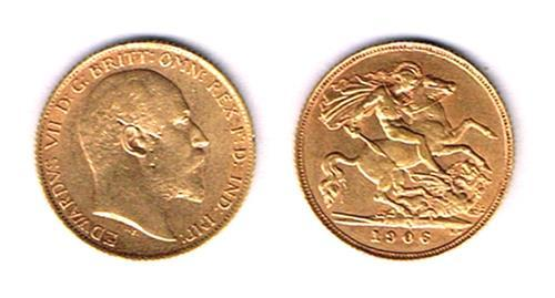 Edward VII gold half sovereigns 1906 and 1910.