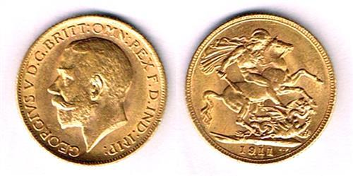George V gold sovereigns 1911, 1913 and 1914