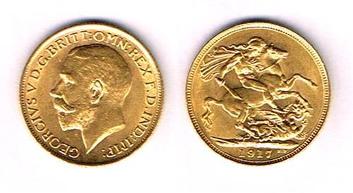 George V gold sovereigns, 1912 and 1917.