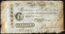 Ross Bank Wexford Four Guineas Bank Note, 1 September 1814