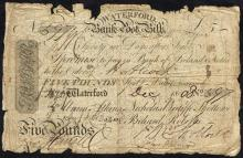Waterford Bank, Five Pounds Bank Note, 1 December 1808