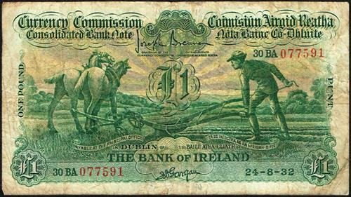 Currency Commission Consolidated Banknote ''Ploughman'' Bank of Ireland One Pound 24-8-32