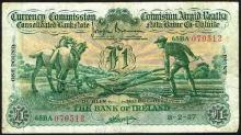 Currency Commission Consolidated Banknote ''Ploughman'' Bank of Ireland One Pound 8-2-37