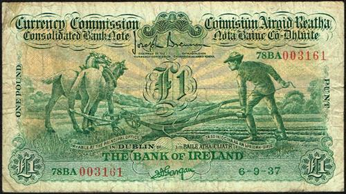 Currency Commission Consolidated Banknote ''Ploughman'' Bank of Ireland One Pound 6-9-37