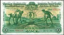 Currency Commission Consolidated Banknote ''Ploughman'' Bank of Ireland One Pound 10-1-39