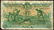Currency Commission Consolidated Banknote ''Ploughman'' Bank of Ireland One Pound, 10-1-39