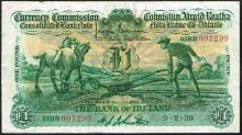 Currency Commission Consolidated Banknote ''Ploughman'' Bank of Ireland One Pound 9-2-39