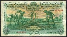 Currency Commission Consolidated Banknote ''Ploughman'' Hibernian Bank One Pound 6-11-35