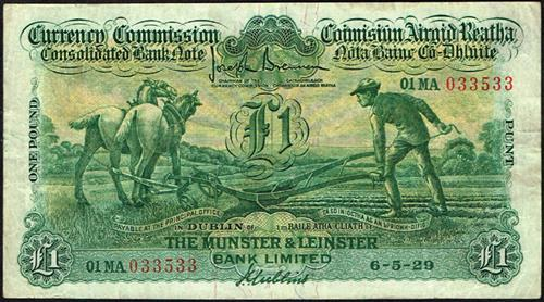 Currency Commission Consolidated Banknote ''Ploughman'' Munster & Leinster Bank One Pound 6-5-29