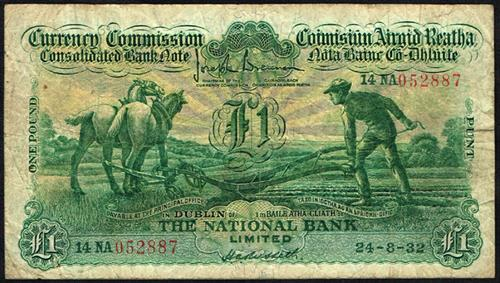 Currency Commission Consolidated Banknote ''Ploughman'' National Bank One Pound 24-8-32
