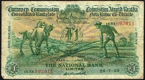 Currency Commission Consolidated Banknote ''Ploughman'' National Bank One Pound 26-7-33