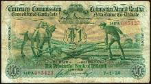 Currency Commission Consolidated Banknote ''Ploughman'' Provincial Bank of Ireland One Pound 7-1-38