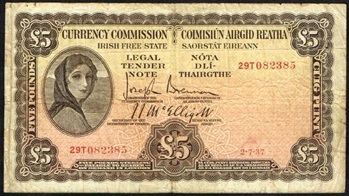 Currency Commission ''Lady Lavery'' Five Pounds 2-7-37