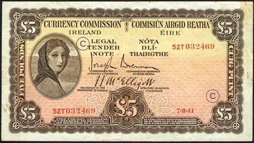 Currency Commission ''Lady Lavery'' War Code One Pound and Five Pounds (2)