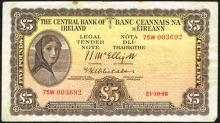 Central Bank ''Lady Lavery'' One Pound and Five Pounds collection 1946-64 (10)