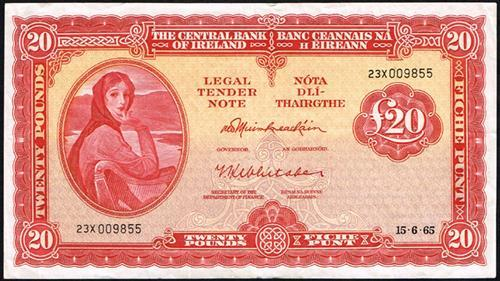 Central Bank ''Lady Lavery'' Ten Pounds and Twenty Pounds collection 1965-72
