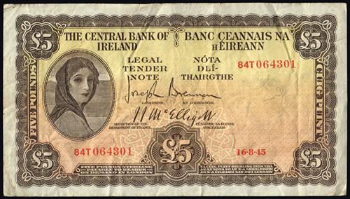 Central Bank ''Lady Lavery'' Five Pounds 1945- 49 (10)
