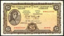 Central Bank ''Lady Lavery'' Five Pounds, 1954-1955, Redmond signature.