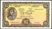 Central Bank ''Lady Lavery'' Five Pounds, 1958-1959.