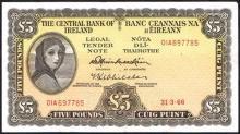Central Bank ''Lady Lavery'' Five Pounds, 1965-1966