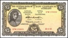 Central Bank ''Lady Lavery'' Five Pounds collection 1965-66