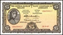 Central Bank ''Lady Lavery'' Five Pounds, 1967-1968.