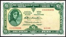 Central Bank ''Lady Lavery'' One Pound collection 11-3-1963