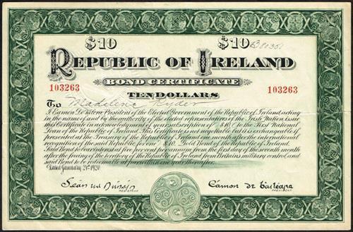 1920 Republic of Ireland Ten-Dollar bond certificate, compliment slip and Bond Certificate Campaign booklet. (3)