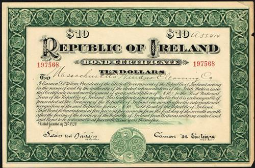 1920 Republic of Ireland Ten-Dollar bond certificate and receipt. (2)