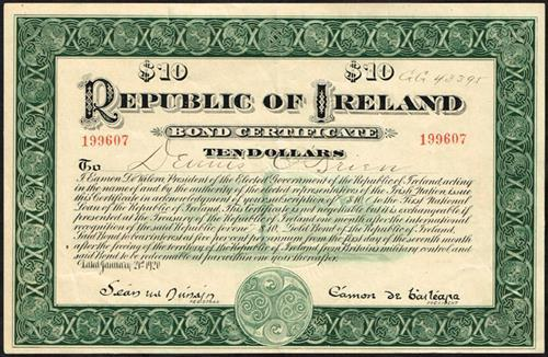 1920 Republic of Ireland Bond Certificate for Ten Dollars.