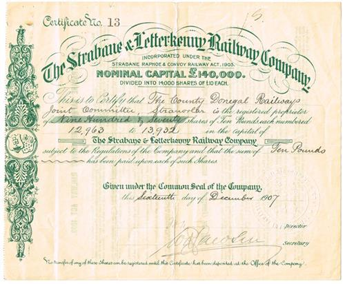 1907 The Strabane and Letterkenny Railway Company, share certificate.