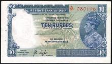 India. George VI selection of Reserve Bank of India banknotes.