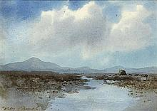 William Percy French (1854-1920) BOG LAKE WITH TURF STACK