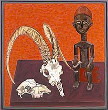 Brian Bourke HRHA (b.1936) SHEEP SKULL, GOAT SKULL, AFRICAN CARVING