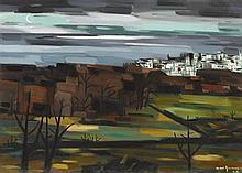 Norah McGuinness HRHA (1901-1980) COASTAL TOWN BY MOONLIGHT, 1962