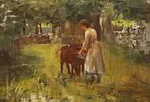 Walter Frederick Osborne RHA ROI (1859-1903) GIRL FEEDING CALVES